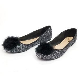 Mix No. 6 Silver/Black Glitter Puff Ballet Flats